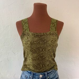 Vintage 90s green snake print lace tank top